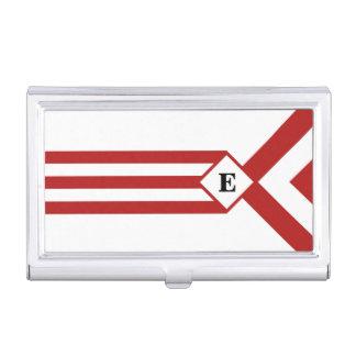 Rayas y galones rojos con el monograma en blanco caja de tarjetas de negocios