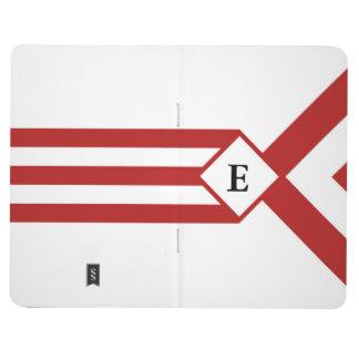 Rayas y galones rojos con el monograma en blanco cuadernos