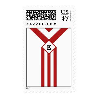 Rayas y galones rojos con el monograma en blanco estampillas