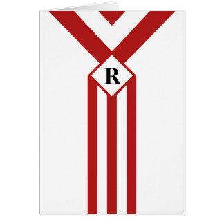 Rayas y galones rojos con el monograma en blanco tarjeta de felicitación