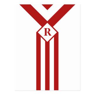 Rayas y galones rojos con el monograma en blanco tarjetas postales