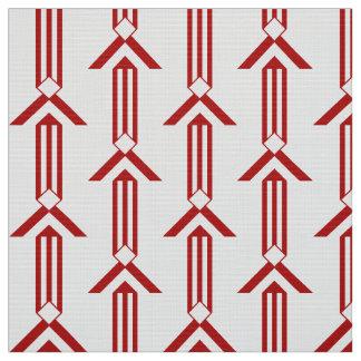 Rayas y galones rojos en la tela blanca telas