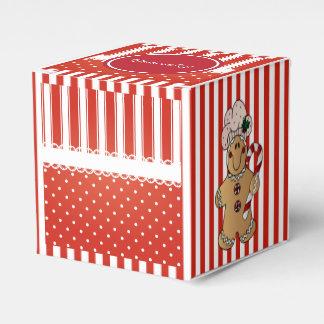 Rayas y hombre de pan de jengibre rojos y blancos caja para regalos