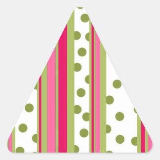 Rayas y lunares pegatina triangular