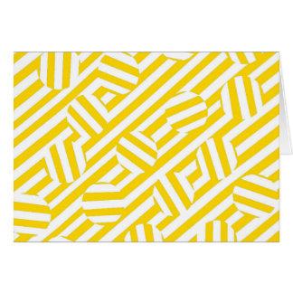 Rayas y modelo amarillos de los círculos tarjeta de felicitación