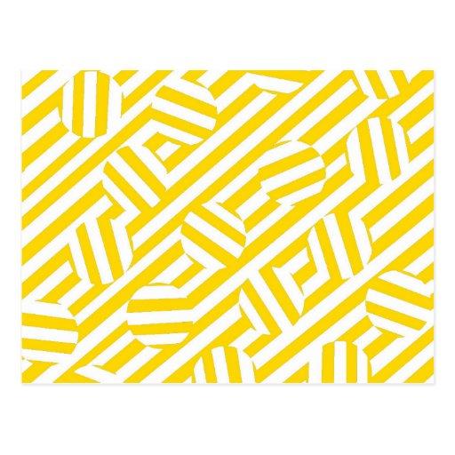 Rayas y modelo amarillos de los círculos tarjeta postal