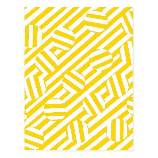 Rayas y modelo amarillos de los círculos tarjetas postales