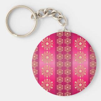 Rayas y modelo de estrellas fucsias rosados llavero redondo tipo pin