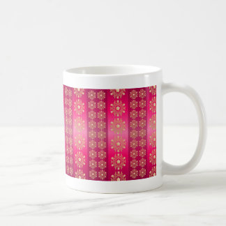 Rayas y modelo de estrellas fucsias rosados taza