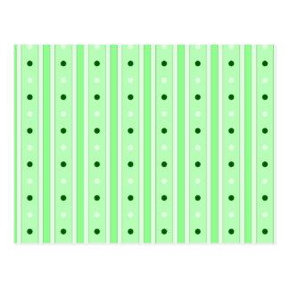 Rayas y modelo de puntos verdes tarjeta postal