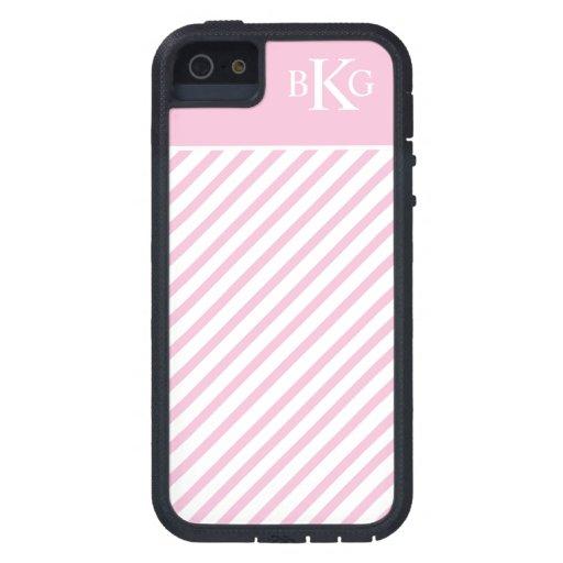 Rayas y monograma del rosa en colores pastel iPhone 5 cárcasas