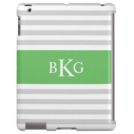 Rayas y monograma grises verdes