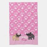 Rayas y patas rosadas de Cuties del barro amasado Toallas De Cocina