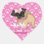 Rayas y patas rosadas de Cuties del barro amasado Pegatina En Forma De Corazón