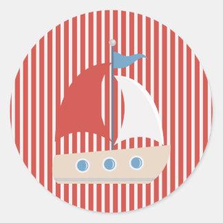 Rayas y pegatina blancos rojos náuticos del barco