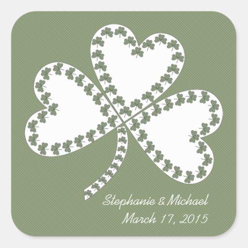Rayas y pegatinas irlandeses del boda de los pegatina cuadrada