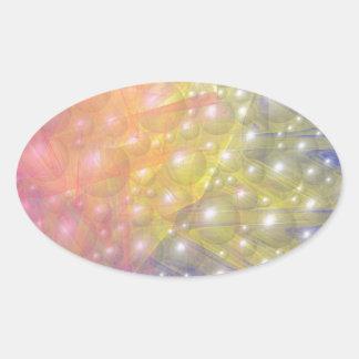 Rayas y perlas del arco iris pegatina ovalada