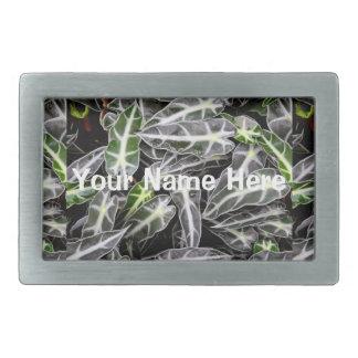 Rayas y planta ornamental brillante de las gotitas hebilla de cinturón rectangular