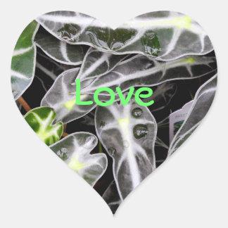 Rayas y planta ornamental brillante de las gotitas pegatina de corazón personalizadas