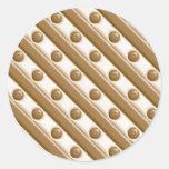 Rayas y puntos - leche y chocolate blanco pegatina redonda