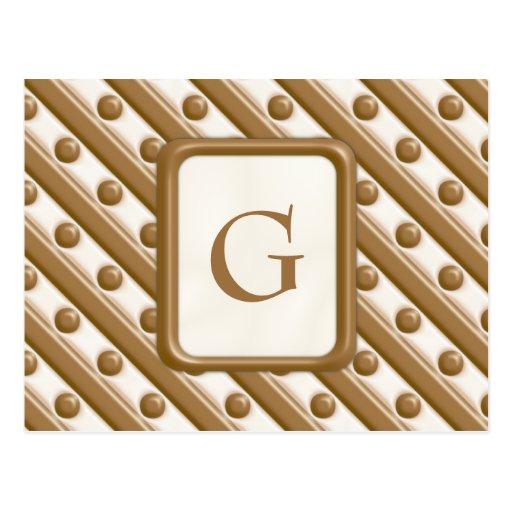 Rayas y puntos - leche y chocolate blanco postal