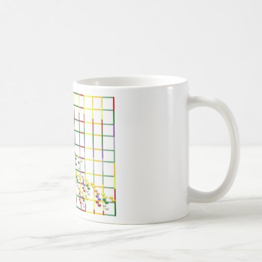 rayas y puntos multicolores taza