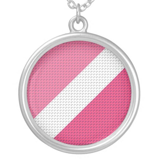 Rayas y puntos rosados colgante redondo