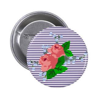 rayas y rosas del marinero pin redondo de 2 pulgadas