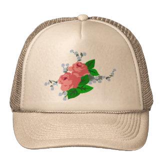 Rayas y rosas dulces gorras