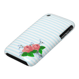 Rayas y rosas dulces iPhone 3 Case-Mate funda