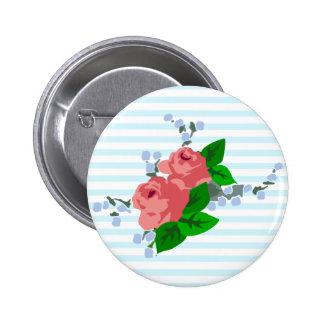 Rayas y rosas dulces pin redondo de 2 pulgadas