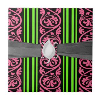 rayas y rosas fuertes de la verde lima del damasco azulejo cuadrado pequeño