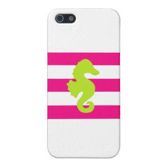 Rayas y Seahorse rosados y verdes iPhone 5 Protectores