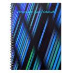 Rayas y sombras personalizadas en cuaderno azul