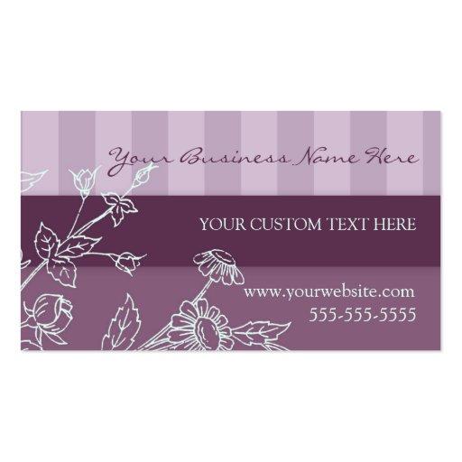 Rayas y tarjetas de visita púrpuras elegantes de l