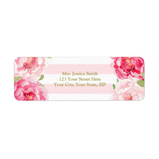 Raye el rosa del oro se ruborizan etiqueta floral etiqueta de remitente