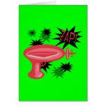 Raygun retro rojo tarjeta