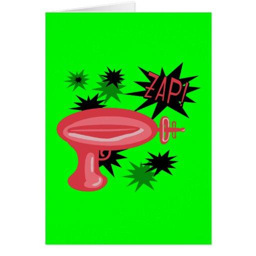 Raygun retro rojo tarjeta de felicitación