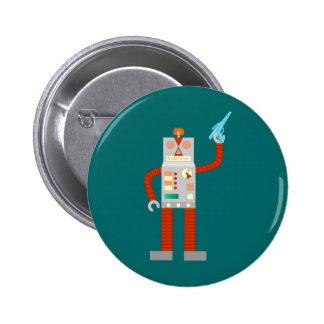Raygun Robot Invasion Pinback Button