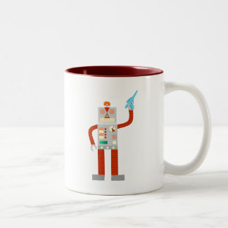 Raygun Robot Invasion Two-Tone Coffee Mug