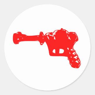 Raygun rojo pegatina redonda
