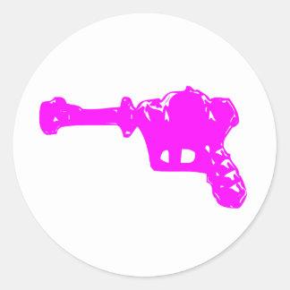 Raygun rosado pegatina redonda