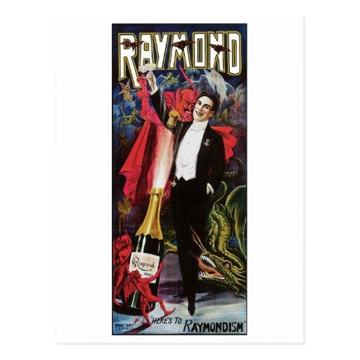 Raymond el acto mágico del gran del ~ vintage del postales