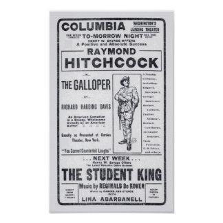 Raymond Hitchcock 1906 theater newspaper ad poster