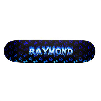 Raymond skateboard blue fire and flames design