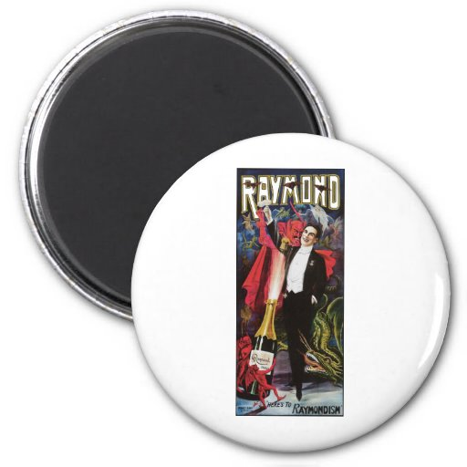 Raymond The Great ~ Magician Vintage Magic Act 2 Inch Round Magnet