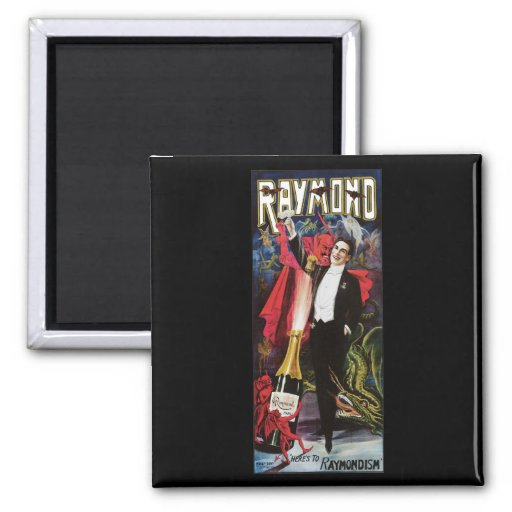 Raymond The Great ~ Magician Vintage Magic Act 2 Inch Square Magnet