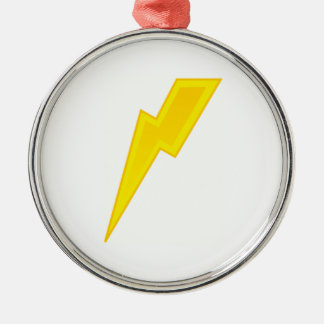 Rayo amarillo adorno navideño redondo de metal
