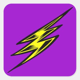 Rayo amarillo eléctrico pegatina cuadrada