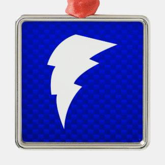 Rayo azul adorno navideño cuadrado de metal